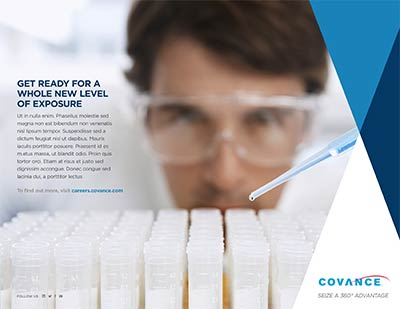 A series of 3 branding concept ads for Covance