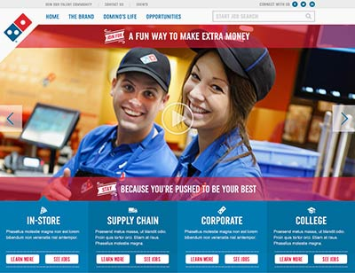Design comps for Domino's Careers website
