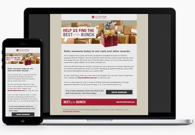 Responsive HTML email for Stanford Hospitals