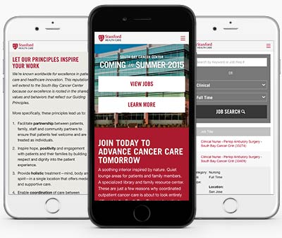 Responsive one page career website for Stanford Hospitals South Bay Cancer Center