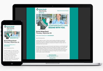 Responsive HTML email for Sutter Health Services